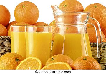 Glasses of orange juice and fruits