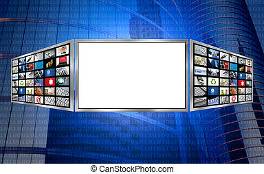 Global 3d screen multimedia monitor tech concept, white copy space