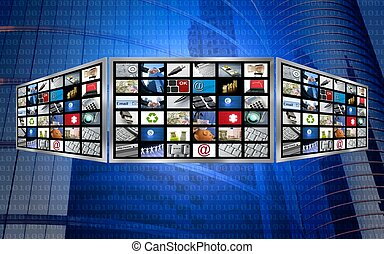Global 3d screen television multimedia tech concept