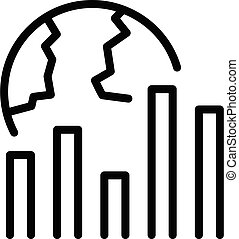 Global bitcoin chart icon, outline style