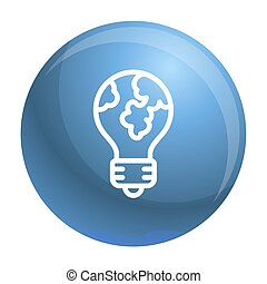 Global bulb icon, outline style