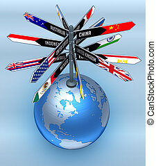 Planet earth with arrows indicating the direction of countries. Concept of Business Travel and Tourism around the World.