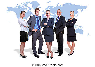 Photo of five corporate people on white with a map of the world behind them, good for worldwide and global business themes.