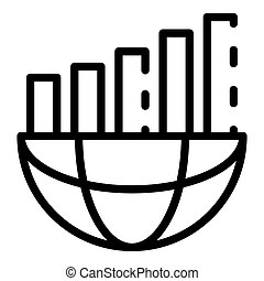 Global chart bars icon, outline style