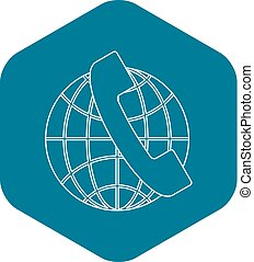 Global communications icon, outline style