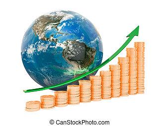 Global economic growth concept, 3D rendering