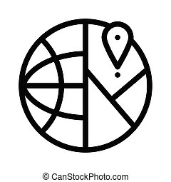 global location icon, outline black style
