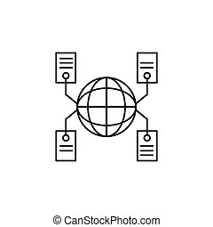 Global network icon, outline style