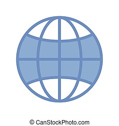global sphere icon, blue outline style