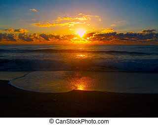 Sunrise On The Manasquan Beach In New Jersey