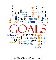 Goals Word Cloud Concept with great terms such as planning, missions, smart, set, high and more.