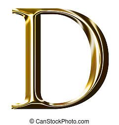 gold alphabet symbol D - uppercase letter