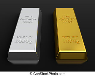 3d render of gold and platinum ingots isolated on black background