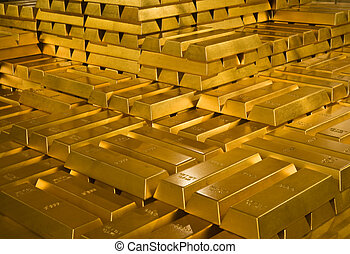 Stack of gold bullions in Indonesian Bank