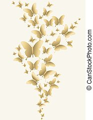 Gold butterfly spring time design