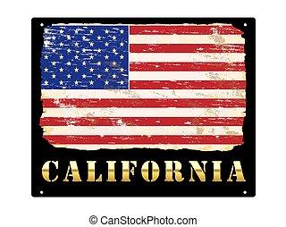 Gold California Enamel Sign