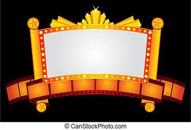 Big gold cinema neon with film strip