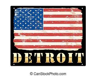 Gold Detroit Enamel Sign