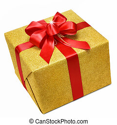 Glittering gold gift box on white background with a nice red bow