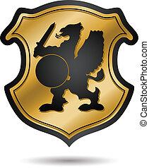 Gold heraldic coat of arms