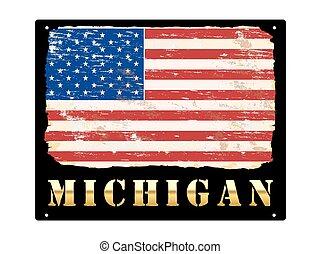 Gold Michigan Enamel Sign