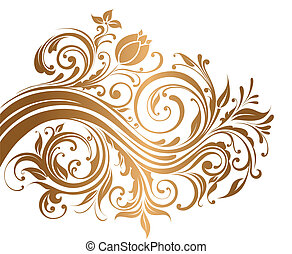Beautiful gold ornament with flowers and curls
