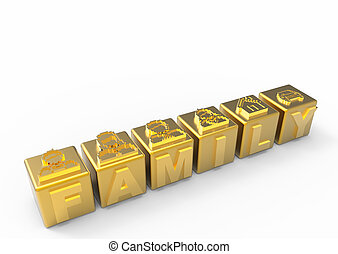 Gold people family icons