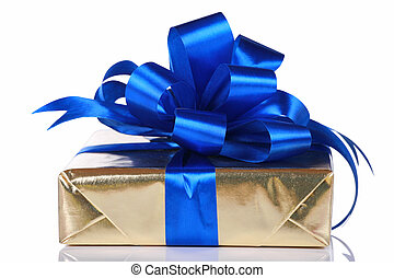 Gold present with blue ribbons