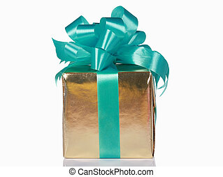 Gold present with green bow