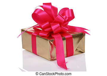 Gold present with pink ribbons