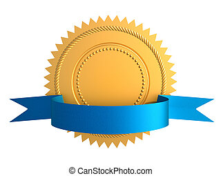 Golden guarantee medal with blue bow isolated on white