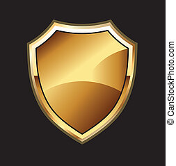 Gold Shield in black background isolated and editable