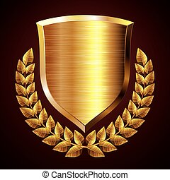 Gold shield with wreath. Eps8. CMYK. Organized by layers. Global colors. Gradients used.