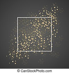 Gold sparkles and stars with white frame on black background.