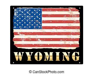 Gold Wyoming Enamel Sign
