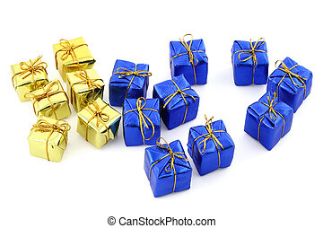 golden and blue gifts isolated on white