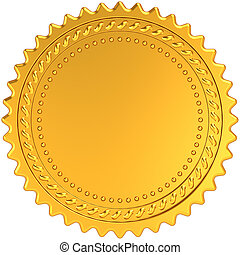 Golden award medal blank seal. Luxury champion badge label. Certificate guarantee design element template. This is a detailed CG 3d render image. Isolated on white background
