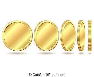 Gold coin with different angles. Vector illustration isolated on white background