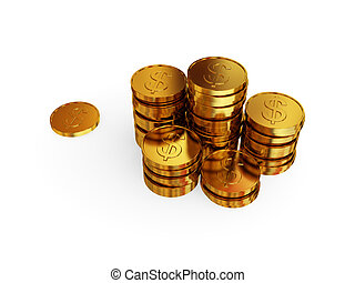 Golden coins. 3d rendered. Isolated on white background.