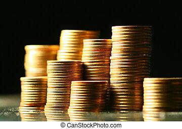 golden coins macro close up