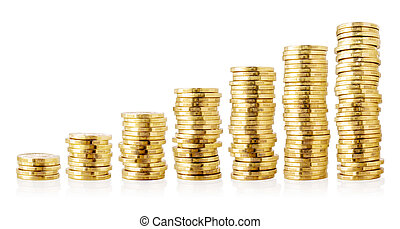 Stacks of golden coins isolated on white background.