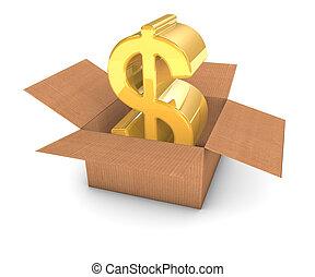 Golden dollar sign inside a cardboard box