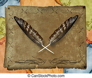 Image and illustration composition of crossed golden eagle feathers on old parchments background American Indian design.
