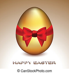 Vector illustration of a cute golden egg with silky red bow representing celebration of Easter