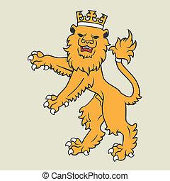 Golden heraldic lion