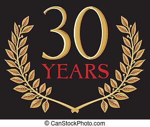 golden laurel wreath 30 years (anniversary, jubilee)
