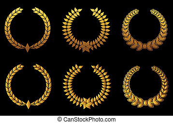 Golden laurel wreathes set
