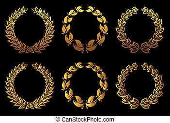 Golden laurel wreaths set