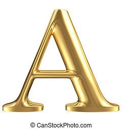 Golden matt letter A, jewellery font collection