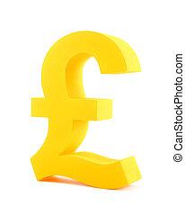 Golden pound symbol isolated on white